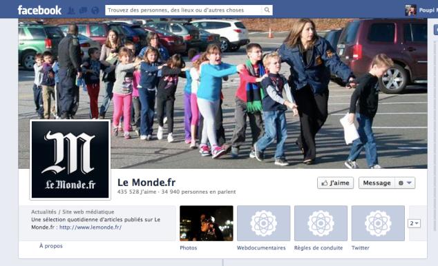 Capture d'écran de la page Le Monde du dimanche 16/12/12 vers 23h