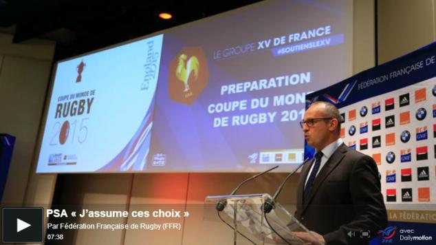 PSA assume ses choix de joueurs présentionnés pour la Coupe du Monde RWC 2015