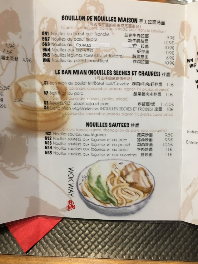 Carte du Wok way à Bordeaux nouilles chinoises