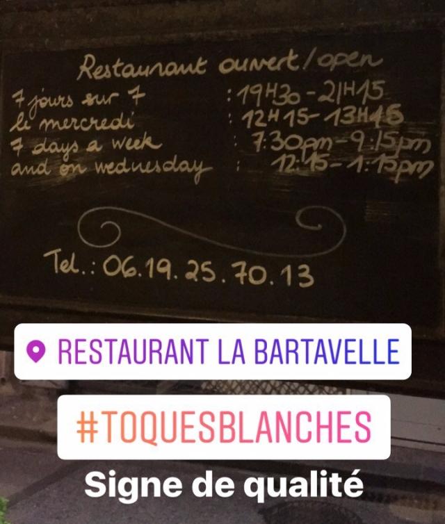 Les horaires du restaurant la Bartavelle à Argelès sur mer, recommandé par les Toques Blanches du Roussillon
