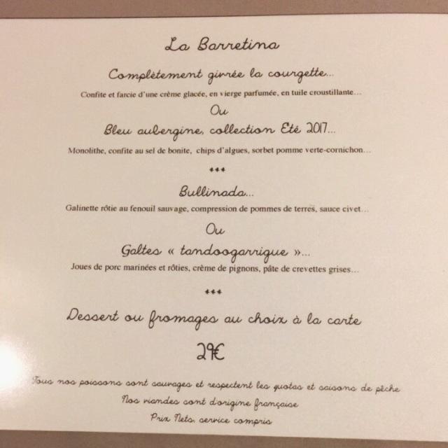 Menu d'été 2017 à 29€ du restaurant La Bartavelle à Argelès